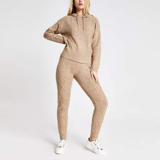River Island Womens Beige cable knitted joggers