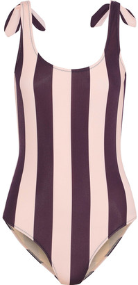 Iris & Ink Marlene Knotted Striped Swimsuit