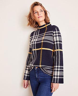 Ann Taylor Plaid Mock Neck Sweater