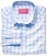 Charles Tyrwhitt Women's Semi-Fitted Cotton Check Blue Shirt Size 12