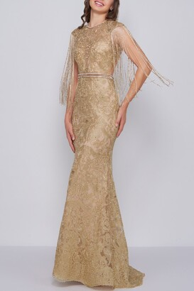 Mac Duggal Novelty Fringe And Lace Trumpet Gown