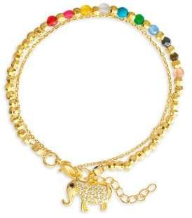 Lord & Taylor 14K Goldplated Sterling Silver Onyx & Crystal Beaded Double-Strand Charm Bracelet