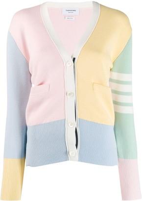 Thom Browne 4-bar milano stitch V-neck cardigan