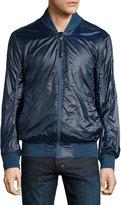 Andrew Marc Long-Sleeve Light Bomber Jacket, Aqua