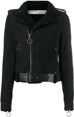 Off-White Shearling-Trimmed Suede Jacket