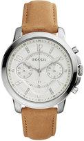 Fossil Women's Chronograph Gwynn Light Brown Leather Strap Watch 38mm ES4038