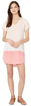 Bella Dahl V-Neck T-Shirt Dress (Bright Coral) Women's Clothing