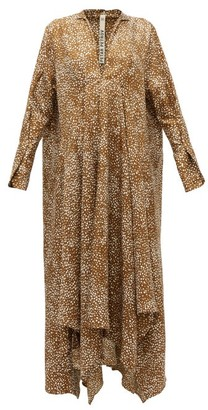 Petar Petrov Alex Abstract Dot-print Silk-twill Dress - Brown Print