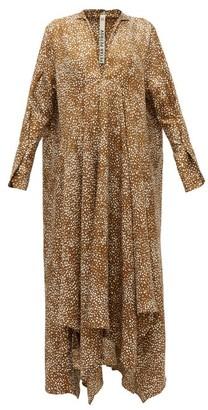 Petar Petrov Alex Abstract Dot-print Silk-twill Dress - Womens - Brown Print