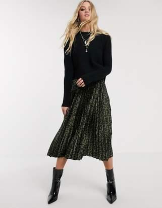 AllSaints leowa 2 in one leaopard print pleated midi slip dress with jumper-Black