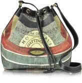 Gattinoni Planetarium Coated Canvas and Leather Bucket Bag