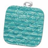 3dRose InspirationzStore Music Art Designs - Turquoise Musical notes - stylish sheet music - teal aqua blue piano notation modern musician gifts - 8x8 Potholder (phl_151370_1)