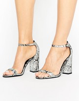 Paper Dolls Gray Snakeskin Block Heeled Sandal