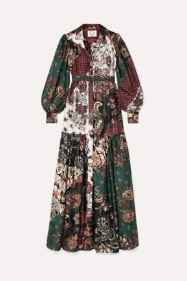 Evi Grintela Elsa Printed Silk-twill Maxi Dress - Dark green