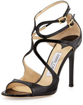 Jimmy Choo Lang Patent Strappy Sandal, Black