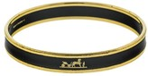Hermes Printed Enemal Black Logo Gold Tone Cuff
