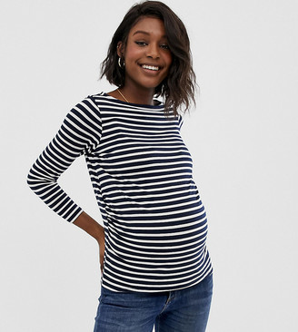 ASOS DESIGN Maternity stripe slouchy long sleeve t-shirt in stripe