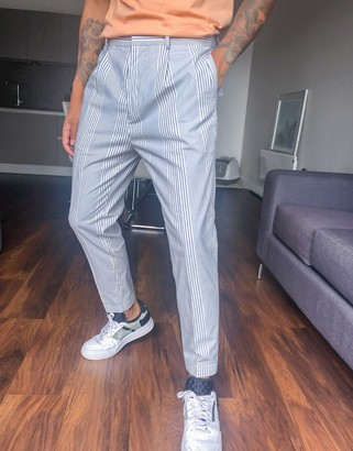 ASOS DESIGN tapered trouser in white and blue stripe with turn up