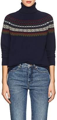 Barneys New York Women's Fair Isle Cashmere Turtleneck Sweater - Navy