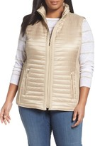 Gallery Plus Size Women's Mixed Media Zip Front Vest