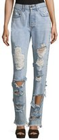 Alice + Olivia Genevive Extremely Distressed Straight-Leg Girlfriend Jeans