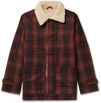 Nudie Jeans Mangan Faux Shearling-Trimmed Checked Wool-Blend Twill Jacket - Men - Red