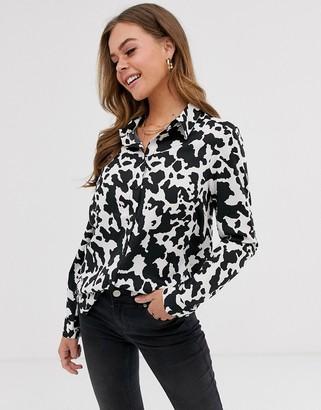 Brave Soul lena shirt in cow print-Multi
