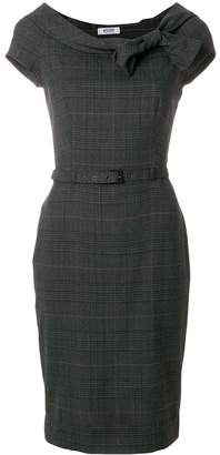 Moschino Pre-Owned plaid belted fitted dress
