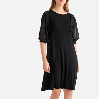 La Redoute Collections Ruffled Polka Dot Tulle Sleeve Jersey Dress