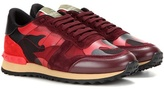 Valentino Rockrunner Printed Leather, Fabric And Suede Sneakers