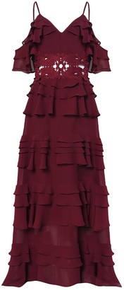 True Decadence Burgundy Plunge Front Tiered Ruffle Maxi Dress