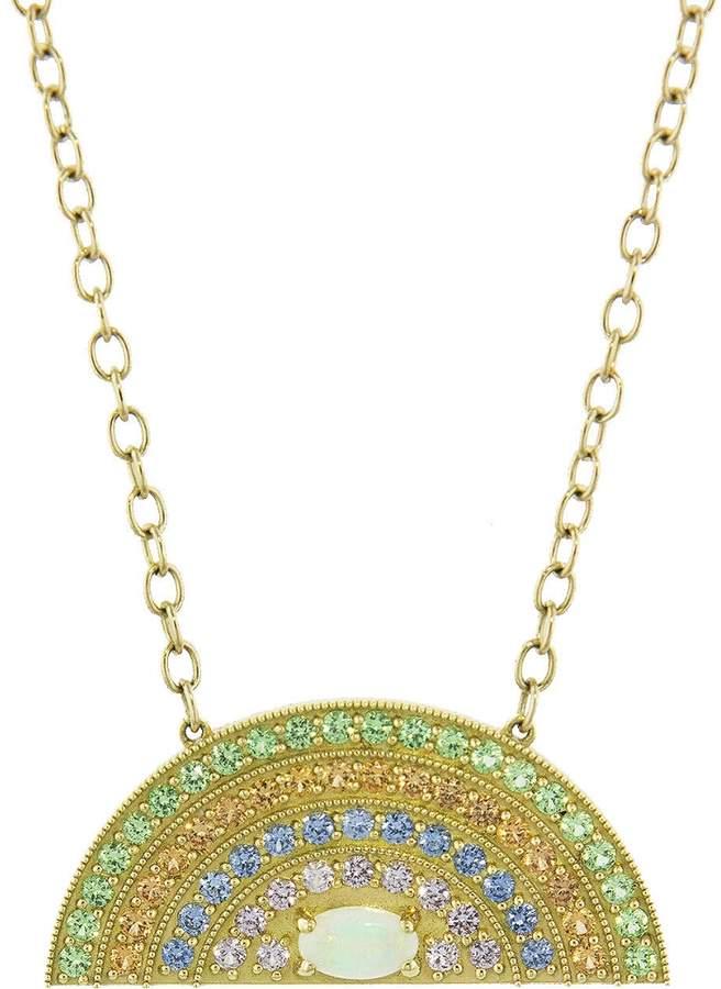 Andrea Fohrman Rainbow Pendant Necklace with Opal Oval Center