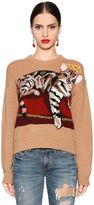 Dolce & Gabbana Cat Intarsia Cashmere Blend Knit Sweater