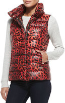 Diane von Furstenberg Packable Animal-Print Zip-Front Puffer Vest