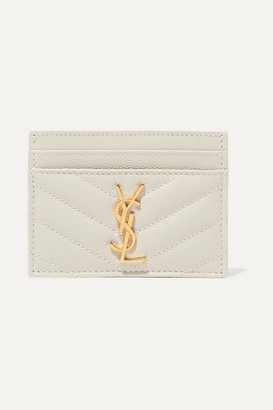 Saint Laurent Quilted Textured-leather Cardholder - Off-white