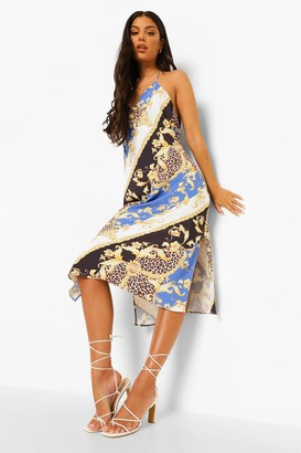 boohoo Scarf Print Cowl Back Midaxi Slip Dress