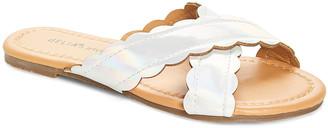 dELiA*s Girls' Sandals Silver - Silver Iridescent Crisscross Slide - Girls