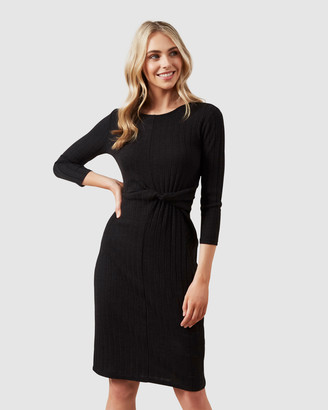 French Connection Tie Front Jersey Midi Dress