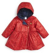 Little Marc Jacobs 'Allover' Leopard Print Reversible Hooded Puffer Coat (Baby Girls)