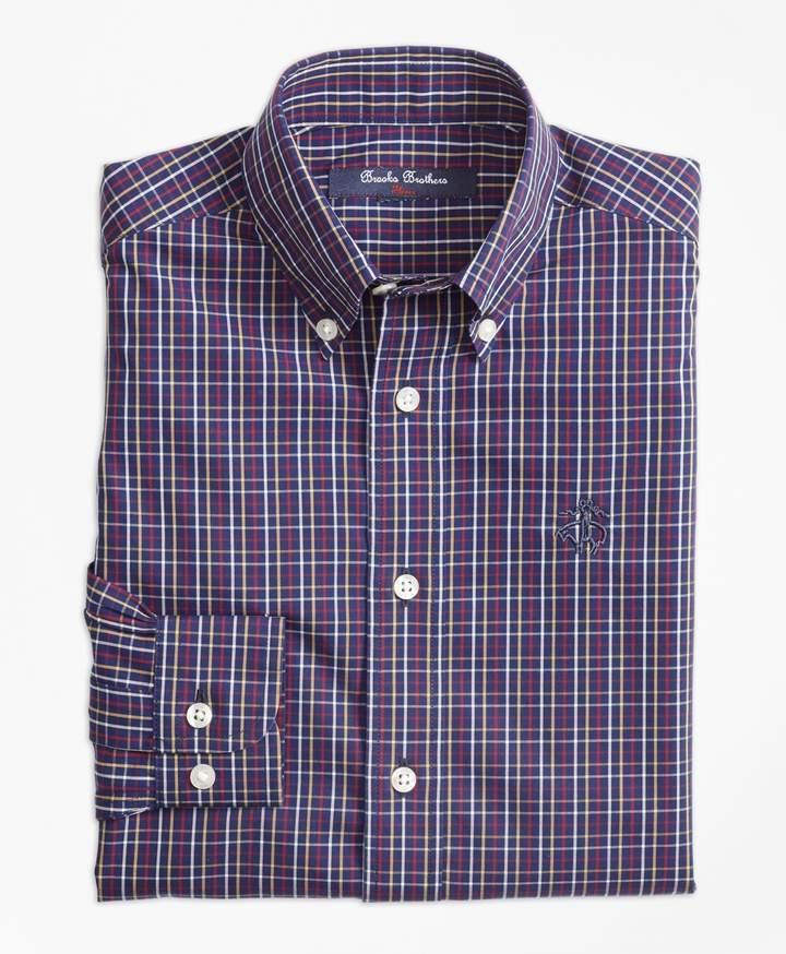 Brooks Brothers Boys Non-Iron Windowpane Tattersall Sport Shirt