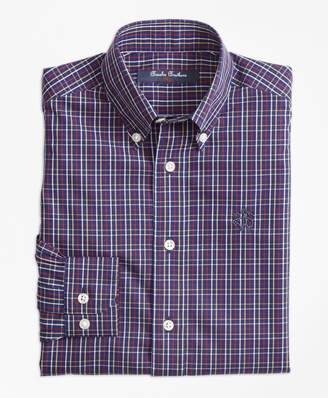 Brooks Brothers Boys Non-Iron Windowpane Tattersall Sport Shirt