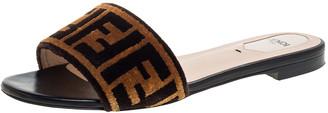 Fendi Two Tone Zucca Velvet Flat Slides Size 37.5