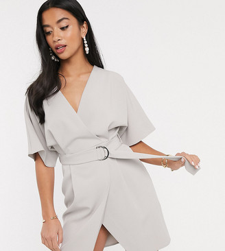 Asos DESIGN Petite wrap front mini dress with d ring belt in gray