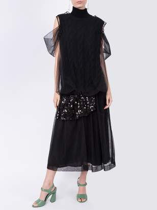 Sequin Ruffle Tulle Skirt