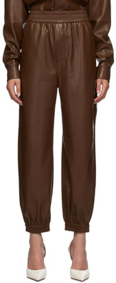 Nanushka Brown Vegan Leather Planet Lounge Pants