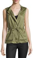 Bagatelle Drawstring Stretch-Cotton Vest, Army Green