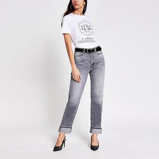 River Island White slogan printed diamante T-shirt