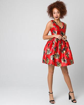 Le Château Floral Print Satin & Twill Party Dress