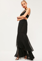Missguided Black Chiffon Wrap Frill Hem Maxi Skirt