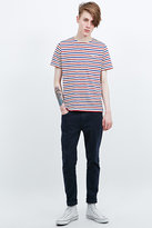 Shore Leave By Urban Outfitters Fine Breton Stripe Tee In Red & Blue